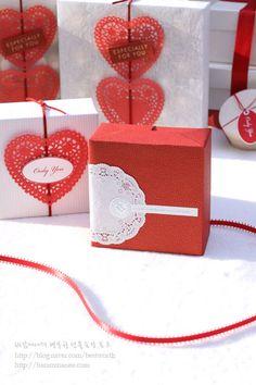 바람마녀의 행복한 선물포장 토크 :: 발렌타인데이 초콜릿포장(1) 도일리페이퍼로 해보는 손쉬운 선물포장