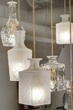 Lamps from whiskey decanters