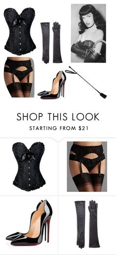 """""""Bettie Page Pin Up Costume"""" by oliviaf14 ❤ liked on Polyvore featuring Hanky Panky, Christian Louboutin, Saks Fifth Avenue Collection and Bettie Page - french lingerie, heidi klum intimates, apparel lingerie *ad"""