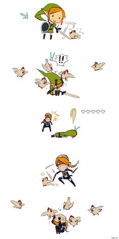 Link, Navi the fairy, cuccos (chickens) and Sheik - The Legend of Zelda: Ocarina of Time; funny comic by edarow 時オカやりたいな (The Most Powerful Enemy)