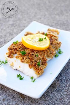 This delicious Clean Eating Walnut Crusted Cod is filled with good-for-you nutrients and makes a very filling dinner! From TheGraciousPantry. Clean Eating Snacks, Clean Eating Recipes, Healthy Eating, Eating Habits, Healthy Food, Cod Fish Recipes, Seafood Recipes, Walnut Recipes, Vegan Recipes