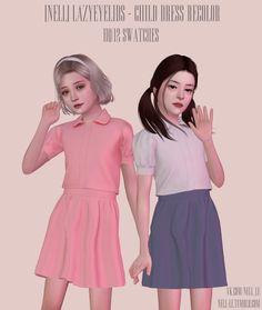 Roli Cannoli CC Findz Corner — nell-le: LazyEyelids - Сhild Dress (Recolor) -... Sims 4 Cc Kids Clothing, Sims 4 Mods Clothes, Sims Mods, Sims 4 Teen, Sims 4 Toddler, Sims Cc, Sims 4 Children, 4 Kids, Sims 4 Anime