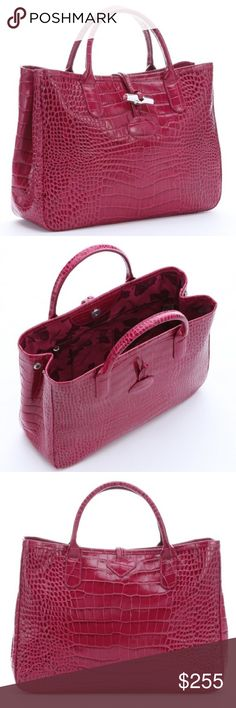 Longchamp Roseau Crocso Tote - Fuchsia Mock croc (real cowhide) leather tote bag with its Roseau closure is the perfect size for holding your documents, laptop, or tablet. Beautiful bright pink/fuchsia color.  Lovely splash of color for the office. Thought I would use it but haven't yet, and it deserves a better home than my closet in its dust bag. 13.5 x 9.75 x 4.25 inches. Longchamp Bags Totes