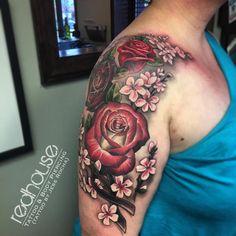 Rose and Cherry Blossom tattoo by Jess Rocha - RedHouse Tattoo & Body Piercing, Buffalo NY