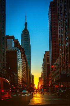 Puesta del sol en Manhattan, New York