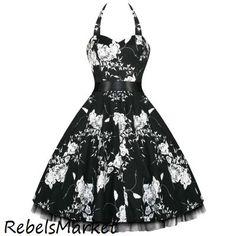 Black Floral Retro Vintage 50's Swing Dress