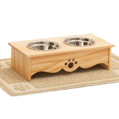 Elevated Dog Feeder and Pet Feeding Mat BUNDLED SET, Raised Dog Bowls, Food Stand for Small Cats and Dogs, INCLUDES Waterproof Feeding Mat, Stainless Steel Food Bowls * Read more  at the image link.