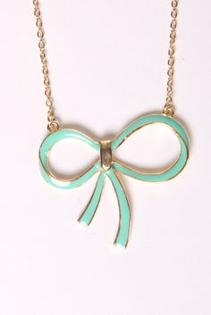 Mint Bow Pendant Necklace, love it and first thing on pintrest i don't dream of having. Because I actually have it!