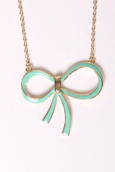 Mint Bow Pendant Necklace