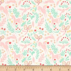 Michael Miller Sarah Jane Magic Metallic Magic Folk White from @fabricdotcom  Designed by Sarah Jane for Michael Miller Fabrics, this whimsical collection features packed unicorns, rabbits, flowers and foliage. It is perfect for quilting, home decor accents and apparel. Colors include pink, min, coral and white with gold metallic accents.