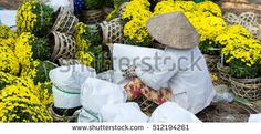 Sa Dec, Vietnam - January 31, 2016: A woman in traditional conical hat, wrapping and selling flowers, Lunar New Year in Vietnam, Asia Pacific