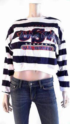 Trends Crop Womens size L Cotton Banded-Hem Crew Sweatshirt Navy White Sale CHOP | eBay