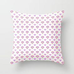Pixel Hearts Throw Pillow