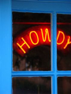 Howdy-Aqua and Red Orange Western Neon Sign Turquoise Texas Santa Fe