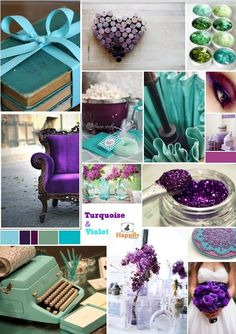 Teal and purple wedding  Turquoise & violet.  Love these 2 colors together