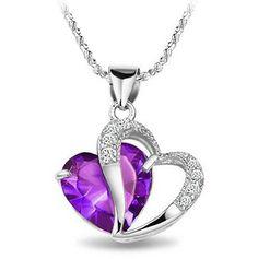 "$17.86  Rhodium Plated 925 Silver Diamond Accent Amethyst Heart Shape Pendant Necklace 18""-sn3017  #necklace #heart #purple #diamonds      http://design21.greatwebmalls.com/"