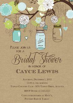 Free Printable Bridal Shower Invitations | Rustic Mason Jar Tree with Burlap Bridal Shower Invitation - Printable