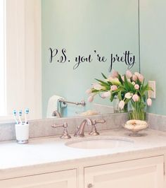 Marvelous P.S. Youu0027re Pretty Bathroom Mirror Girls Love Decal Vinyl