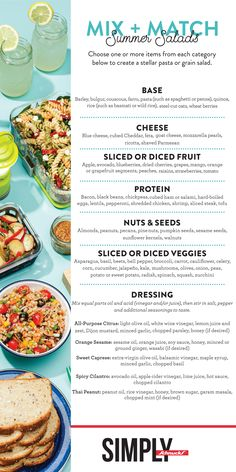 Choose one or more items from each category to create a stellar pasta or grain salad. Grain Salad, Blue Cheese, Penne, Summer Salads, Couscous, Pasta Salad, New Recipes, Cooking Tips, Feta