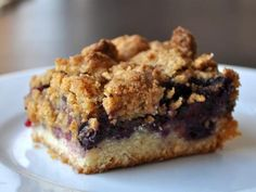 Golden and crisp blueberry crumble bars from  Serious Eats