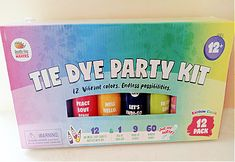 tie dye party kit from Doodle Hog Fun Arts And Crafts, Arts And Crafts Projects, Craft Projects For Kids, Craft Kits, Tie Dye Party, Orange You Glad, Free Printable Worksheets, Party Kit, Bottle Painting