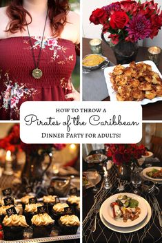 Disney lovers, learn how to throw a Pirates of the Caribbean themed dinner party for adults, recipes and all! Decorate your dining room to look like a pirate ship and serve a Caribbean menu fit for Captain Jack Sparrow. Don't forget the rum tasting! Pirate Themed Food, Disney Themed Food, Pirate Food, Disney Inspired Food, Disney Food, Dinner Party Menu, Dinner Club, Dinner Themes, Themed Dinner Parties