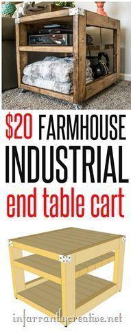 farmhouse cart – industrial end table cart – great diy furniture idea - DIY Möbel Small End Tables, Diy End Tables, Diy Table, Side Tables, Diy Wood Projects, Furniture Projects, Furniture Plans, Diy Furniture, Farmhouse Furniture