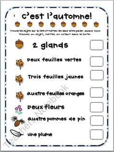C'est l'automne Scavenger Hunt Sheet from Madames Little Monkeys on TeachersNotebook.com (1 page)  - A fun fall activity to do with your French Immersion or Core French students that will help teach fall-themed vocabulary and strengthen oral language.