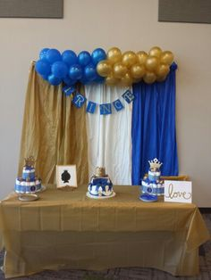 Royal Blue and Gold. Prince themed Baby Shower