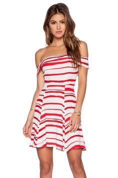 WAYF Off Shoulder Dress in Red & White Stripe
