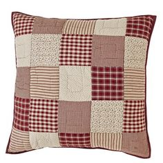 """Our Cheston Patchwork Quilted Euro Sham 26x26"""" is a must when finishing off your Cheston quilted bedding collection! https://www.primitivestarquiltshop.com/products/cheston-patchwork-quilted-euro-sham-26x26 #primitivecountrybedroomsbeddingandaccessories"""