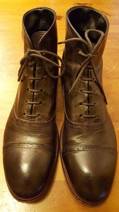 Authentic, MOMA - Dark Brown, Leather, Cap toe, Lace Up, Ankle Boots (Sz 9) | eBay