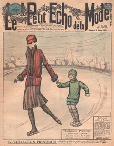 1920's ice skating | Vintage Print, Mother and Child Ice Skating, 1920s