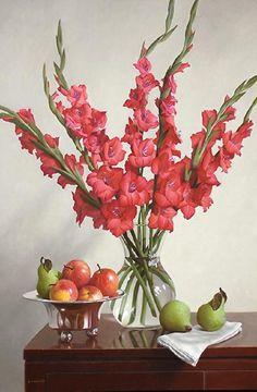 Basic Floral Design by Deborah Dolen Gladiolus Centerpiece, Gladiolus Arrangements, Tall Floral Arrangements, Wedding Flower Arrangements, Flower Bouquet Wedding, Tall Centerpiece, Flower Bouquets, Flower Vases, Flower Art
