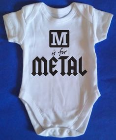 M IS FOR METAL BABY GROW VEST FUNNY GREAT PRESENT BIRTHDAY HEAVY METAL MUSIC