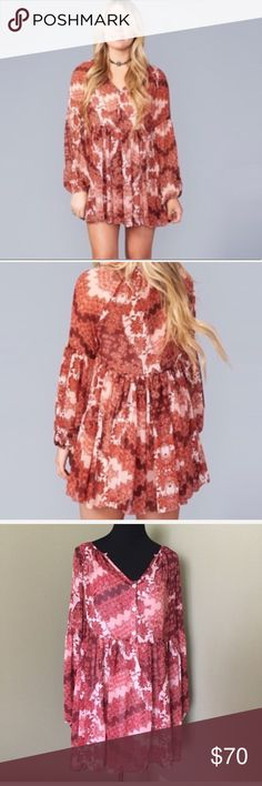 Show Me Your MUMU Sienna dress (MB23H39N) Swing SIENNA tunic Dress in happy henna. Above knee.  Only worn once . Dress has no flaws but the slip does. They are not that visible ( see pictures). Polyester Show Me Your MuMu Dresses Mini