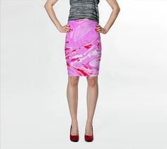 "Fitted Skirt ""Pink Red Abstract Marble - Pencil Skirt"" by Jenny Mhairi"