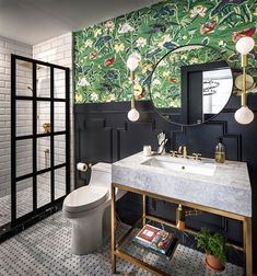 Looking for Eclectic Bathroom ideas? Browse Eclectic Bathroom images for decor, layout, furniture, and storage inspiration from HGTV. Eclectic Bathroom, Bathroom Styling, Bathroom Interior, Ikea Interior, Bad Inspiration, Bathroom Inspiration, Bathroom Wallpaper Vintage, Bold Wallpaper, Scandinavian Baths