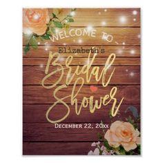 #Wood Floral String Lights Bridal Shower Welcome Poster - #rustic #wedding #marriage #bridal #weddingideas
