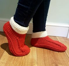 Hand Knitted Merino Wool Slippers Dorm Bed Socks Adults Size UK 4 - 5, US 6 - 7, EU 37 - 38 Festive Red Perfect Christmas Gift Present Idea by CelticKnittedDesigns on Etsy