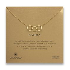 Dogeared Gold-Dipped Large 3 Linked Karma Circle Necklace - Zentosa