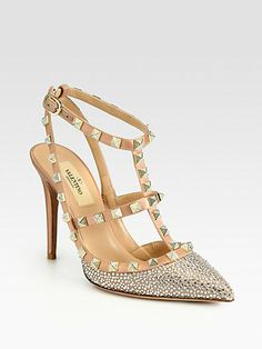 Crystal-Coated Satin T-Strap Pumps by: Valentino