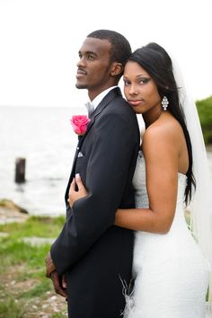 cute african american bride and groom