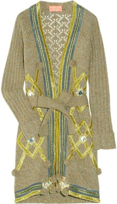 Embellished Knitted Wool-blend Cardigan - Lyst
