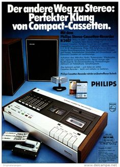 Original-Werbung/ Anzeige 1974 - 1/1 SEITE - PHILIPS CASSETTEN RECORDER N2407 - ca. 180 x 240 mm