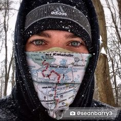 Keeping warm while hiking the Appalachian Trail by wearing the AT Buff.