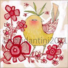 tarte bonbon - oiseau sur un art de branche print - 8 x 8 d'archivage limited edition print par cori dantini