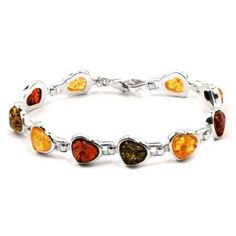Sterling Silver Multicolor Amber Heart Bracelet Length 7 Inches *** To view further for this item, visit the image link.