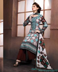 Off   White & Brown profuse Embroidered Pure Satin Cotton Salwar Suits for   women(Semi Stitched)       Fabric:   Pure Satin Cotton       Work:   Embroidered       Type:   Salwar Suits for   women(Semi Stitched)       Color:   Off White & Brown