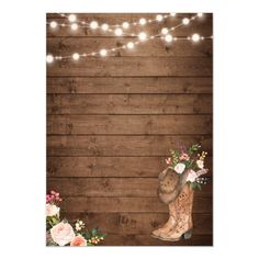 Shop Rustic Boots Cowboy Cowgirl Floral Lights Wedding Invitation created by CardHunter. Invitations Quinceanera, Quince Invitations, Quinceanera Decorations, Birthday Invitations, Wedding Invitations, Horse Birthday, Cowgirl Birthday, Cowgirl Party, Cowgirl Invitations